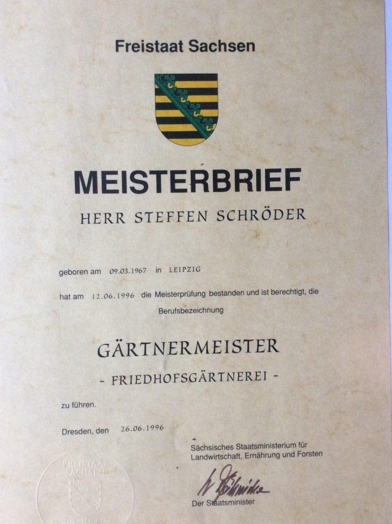 Unsere Gärtnerei: Meisterbrief Friedhofsgärtner