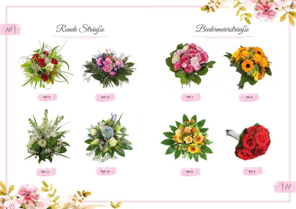 Runde Sträuße und Biedermeiersträuße Floristik